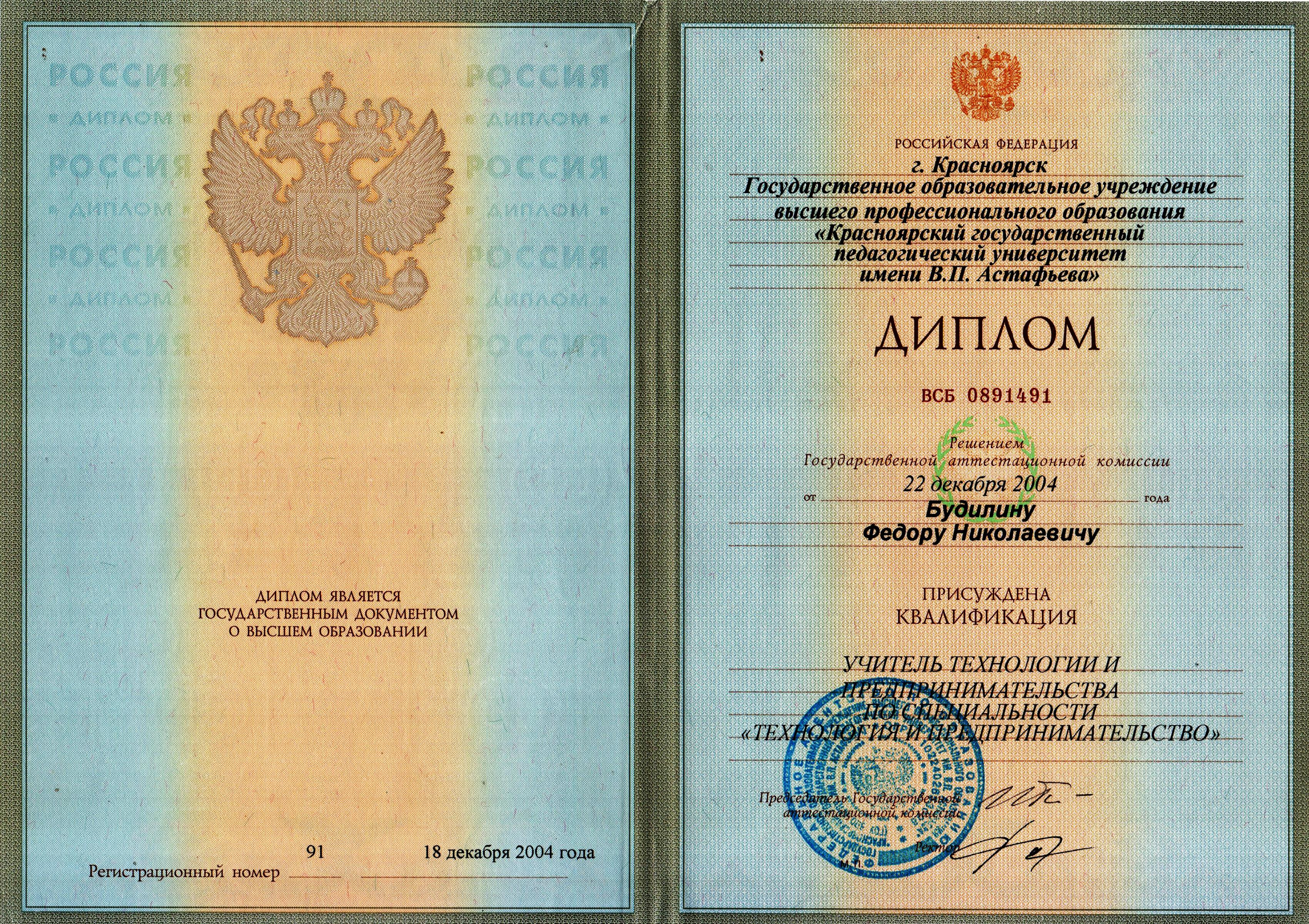МОБУ Мельничная оош Будилин Федор Николаевич   диплом ВСБ 0891491